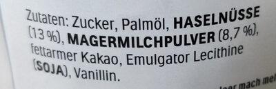 Nutella - Ingredients - de