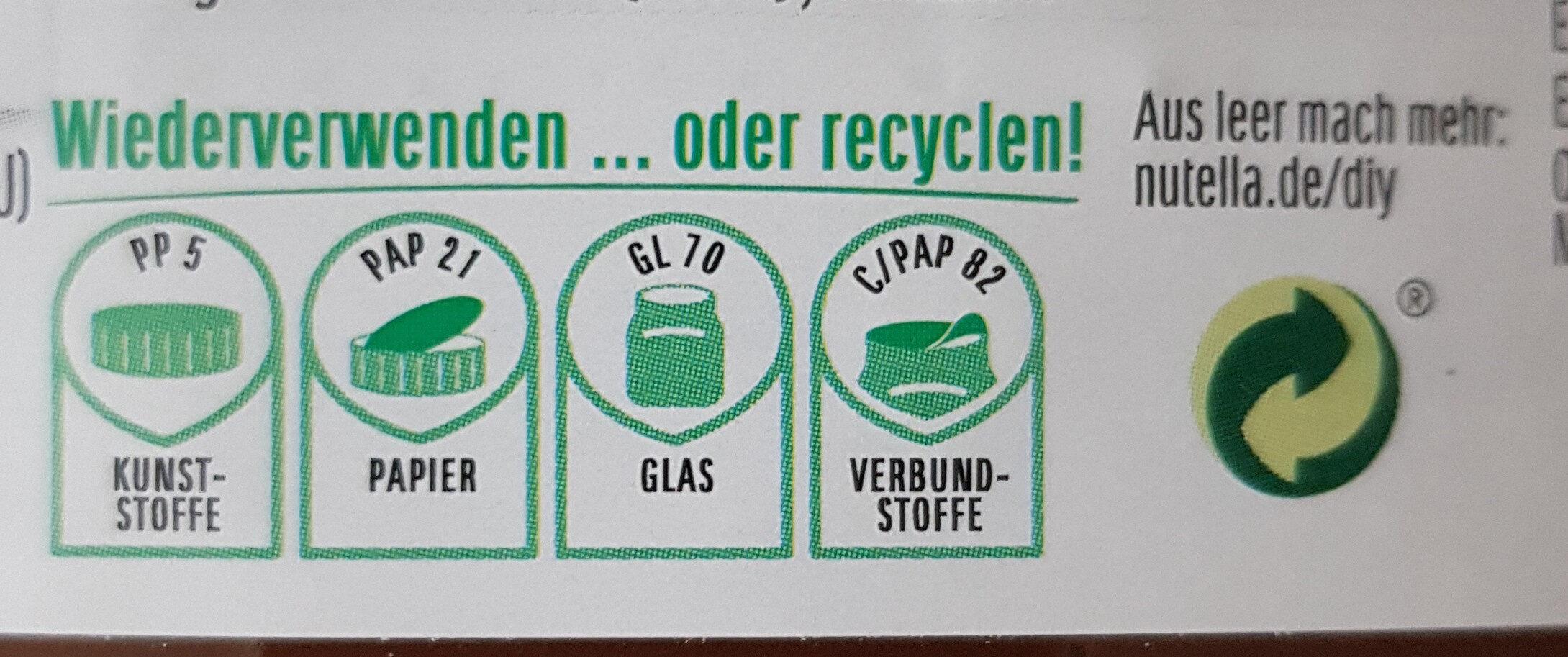 Nutella - Instruction de recyclage et/ou information d'emballage - de