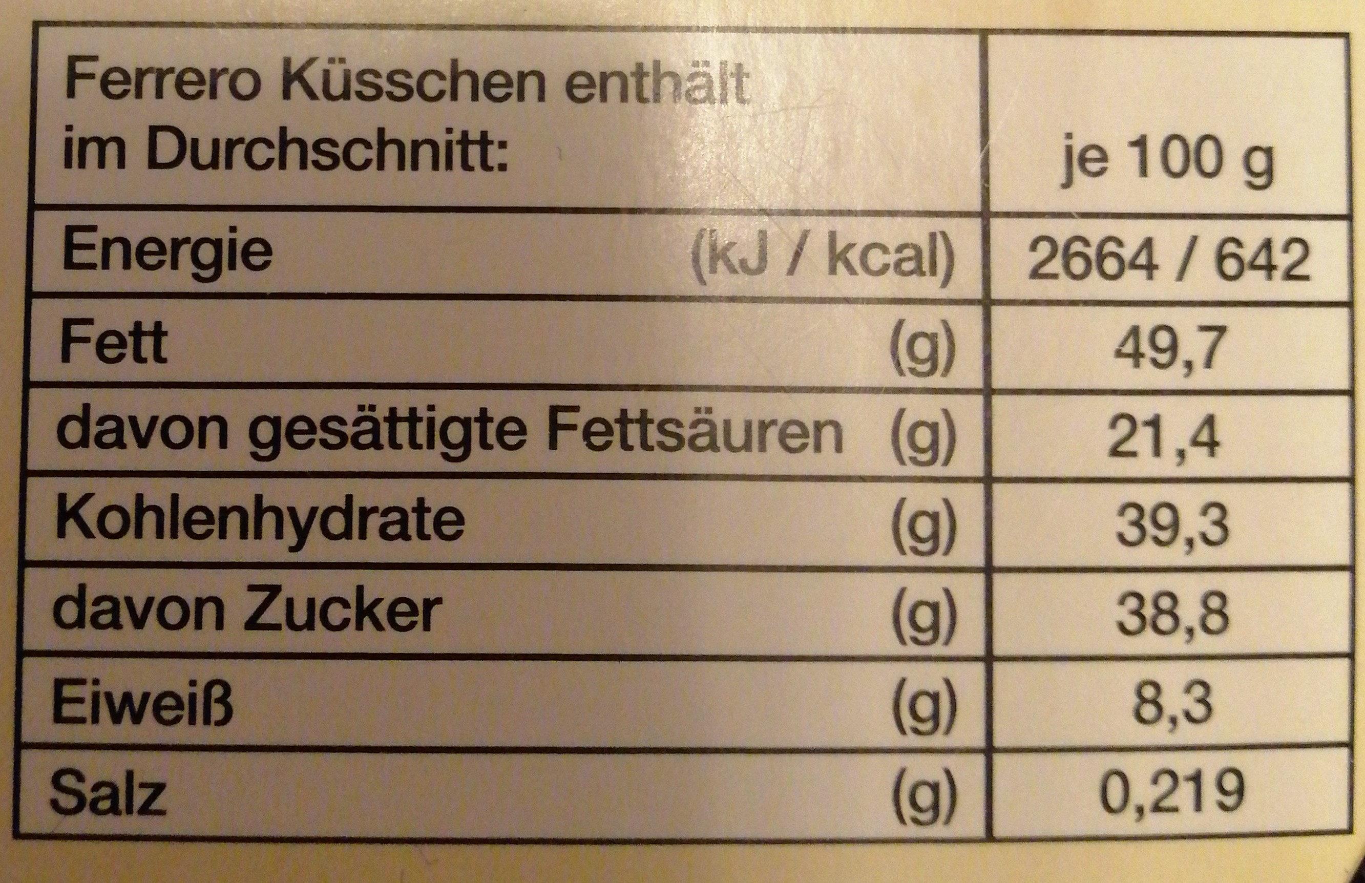 Ferrero Küsschen White 20er Geschenkverpackung - Informations nutritionnelles