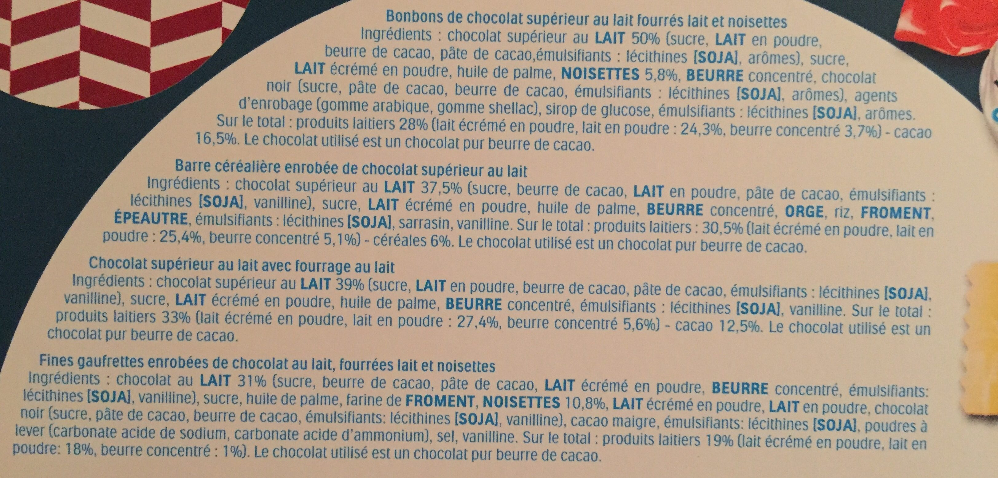 Kinder calendrier de l'avant - Ingredients
