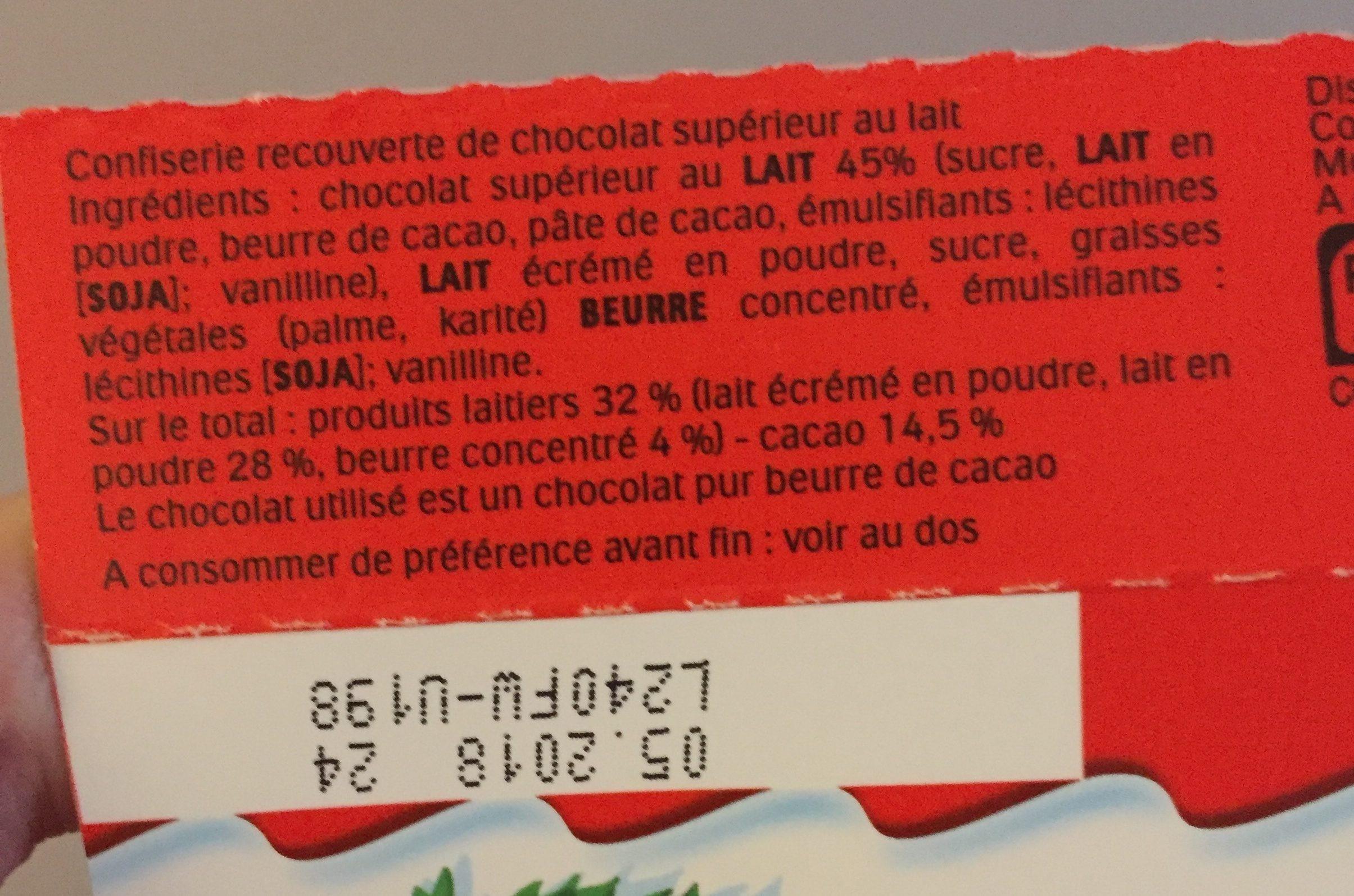 Kinder mini moulage confiserie en forme de personnage recouverte de chocolat superieur au lait - Ingredienti - fr