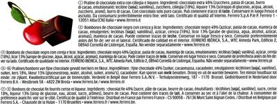 Mon cheri cerise bonbons de chocolat noir fourres cerise et liqueur boite de 30 bouchees - Ingredienti - fr