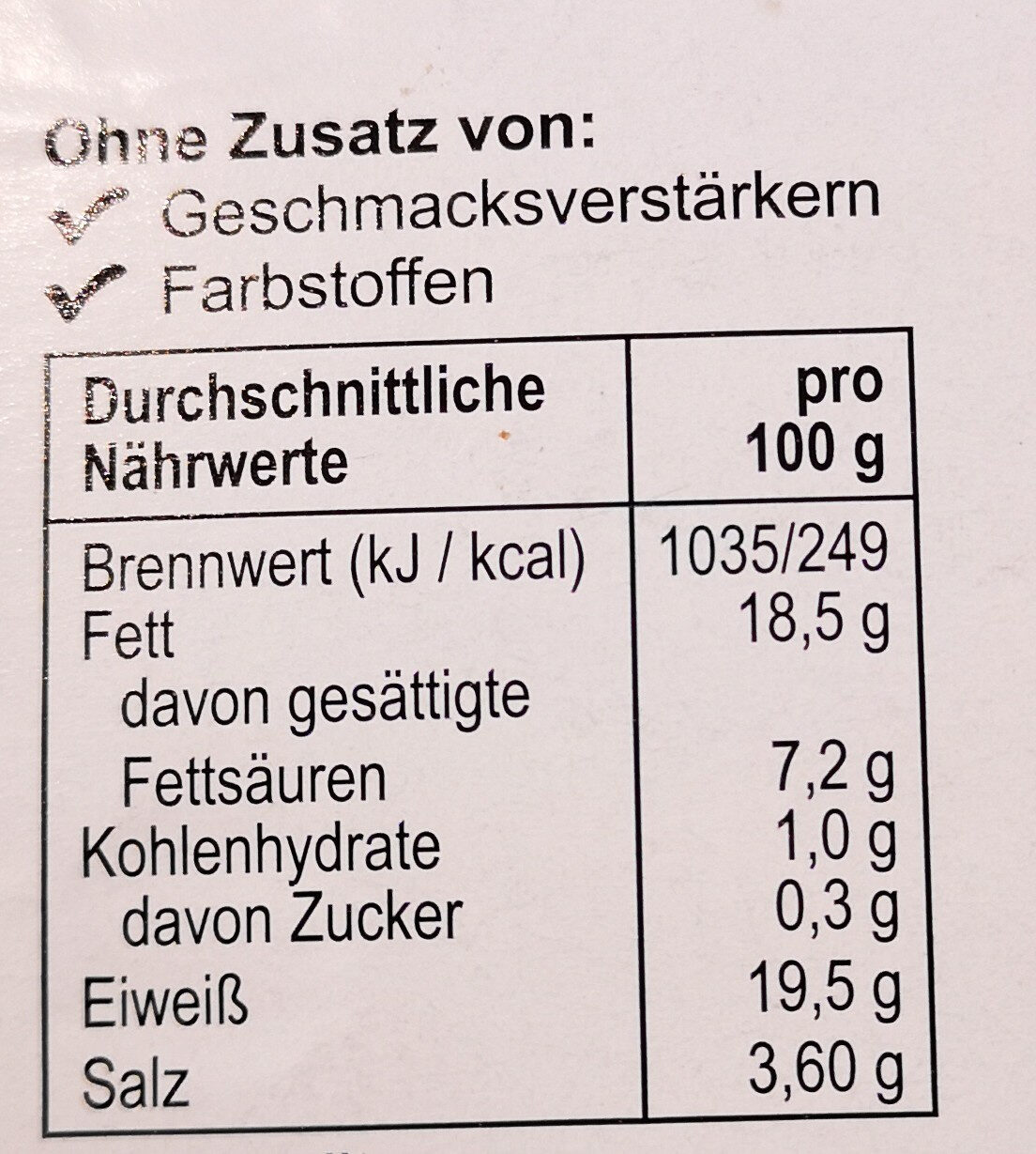 Rindfleisch-Salami - Nutrition facts - de