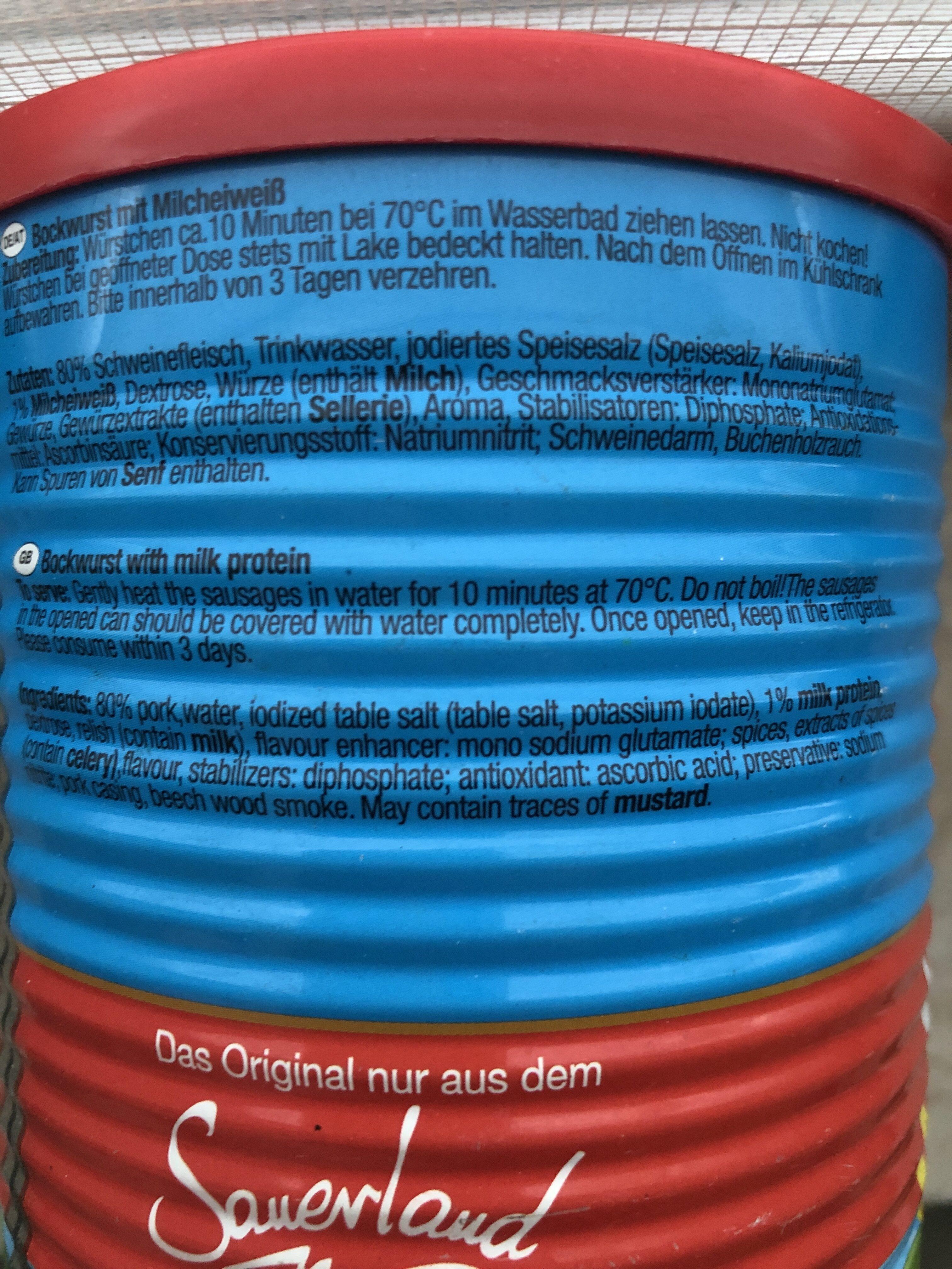 Dicke Sauerländer Bockwurst - Ingrédients - de