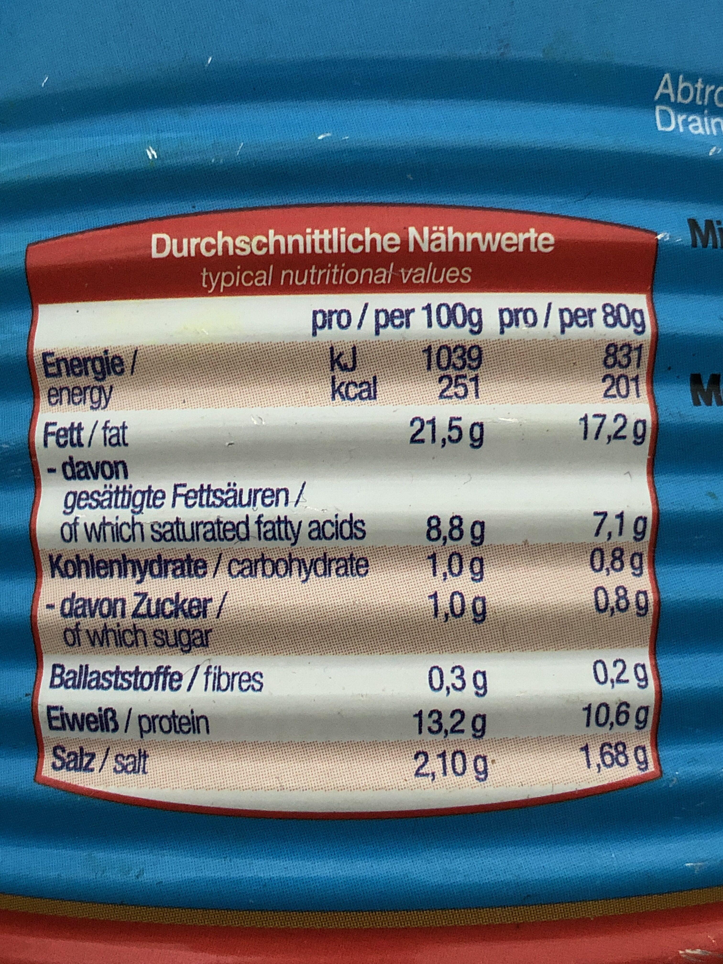 Dicke Sauerländer Bockwurst - Informations nutritionnelles - de