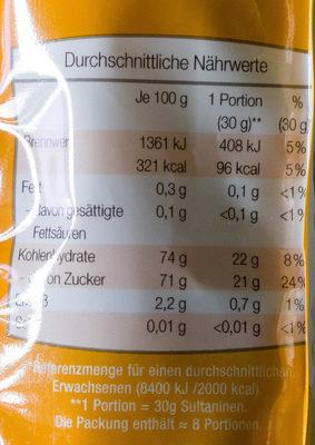 Sultaninen ungeschwefelt - Informations nutritionnelles - de
