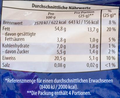 Mandeln blanchiert, gemahlen - Nutrition facts