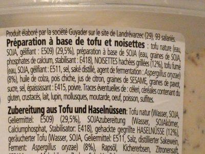 Tofu Fumé et noisettes - tartinable végétal - Ingredients - fr