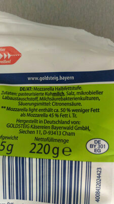 Mozzarella Light - Ingrédients - en