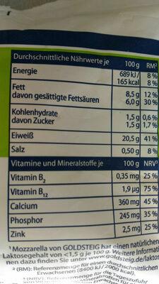 Mozzarella Light - Informations nutritionnelles - en