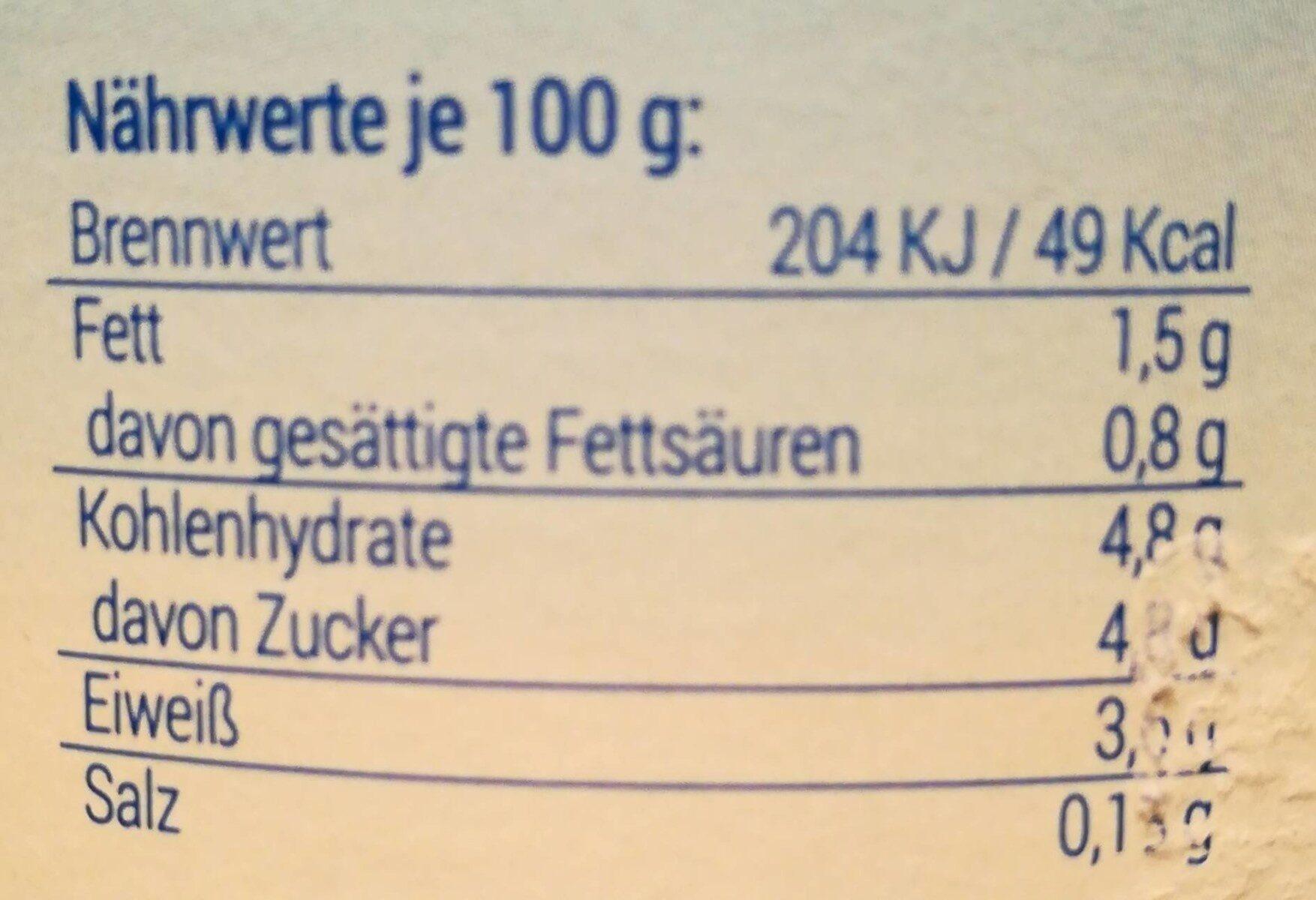 Fettarme Milch - Valori nutrizionali - de