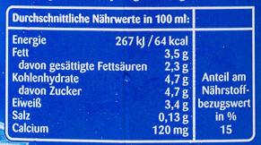 Frische Milch 3.5% - Nutrition facts - de
