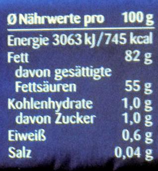 Butter streichzart - Nutrition facts