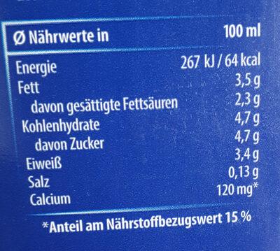 Haltbare Milch  3,5% - Nährwertangaben - de