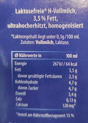 Haltbare Milch laktosefrei 3,5 % Fett - Ingredienti - de