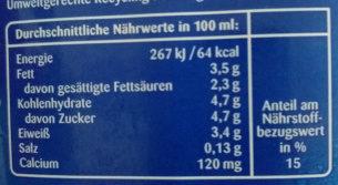 Haltbare Milch laktosefrei 3,5 % Fett - Valori nutrizionali - de