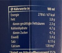 Bio Frischmilch - Nährwertangaben - de