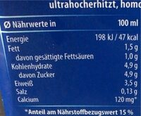 Alpenmilch, Haltbar, 1,5 % Fett , 0,5 L, 1.5 % Fett - Nährwertangaben - de
