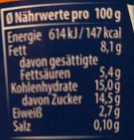 Rahmjoghurt Spanische Orange - Nährwertangaben