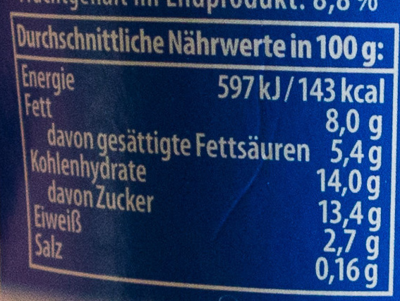 Rahmjoghurt Heidelbeere - Nutrition facts - de