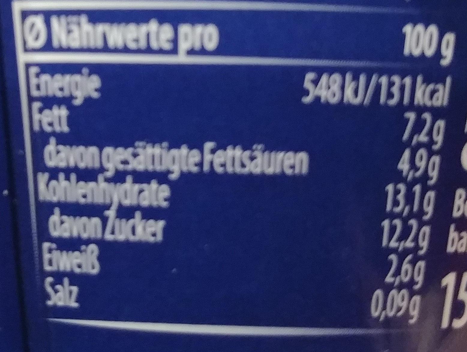 Mascarpone Joghurt - Nährwertangaben