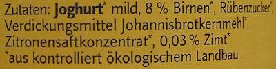 Bio Birne-Zimt Joghurt mild - Ingrediënten