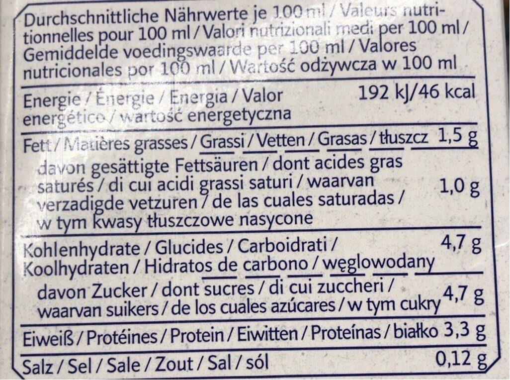Lactosefreie Milch, Haltbar - Informations nutritionnelles - fr