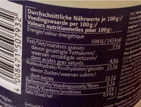 Joghurt Mild Stracciatella Bio - Nährwertangaben - de