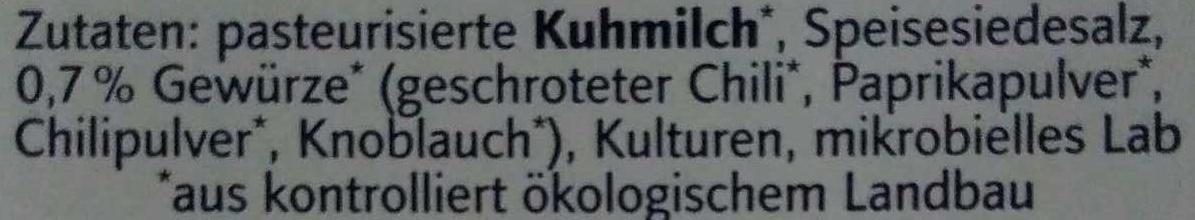 Bio Feuerkäse - Ingrédients