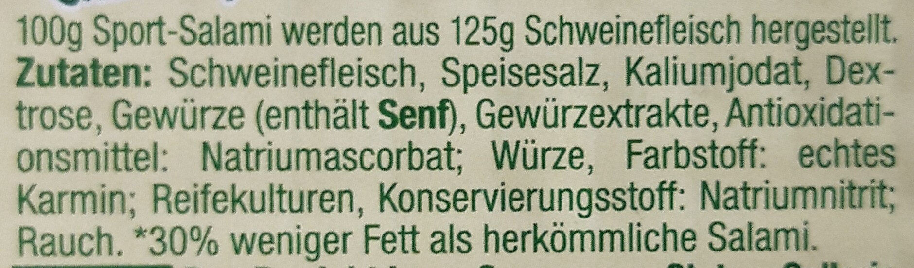Sport-Salami - Ingrediënten - de
