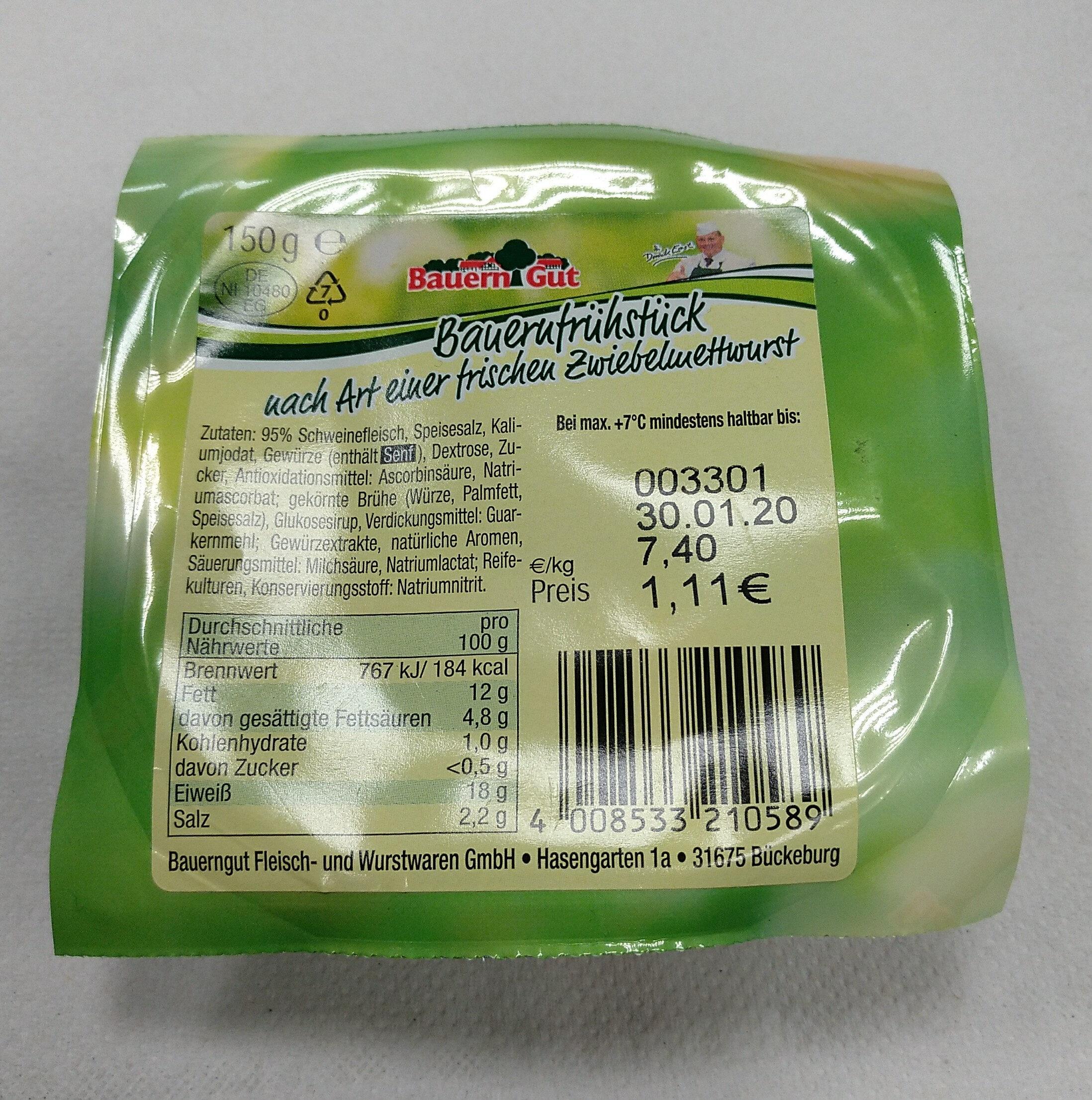 Bauernfrühstück nach Art einer frischen Zwiebelmettwurst - Product - de
