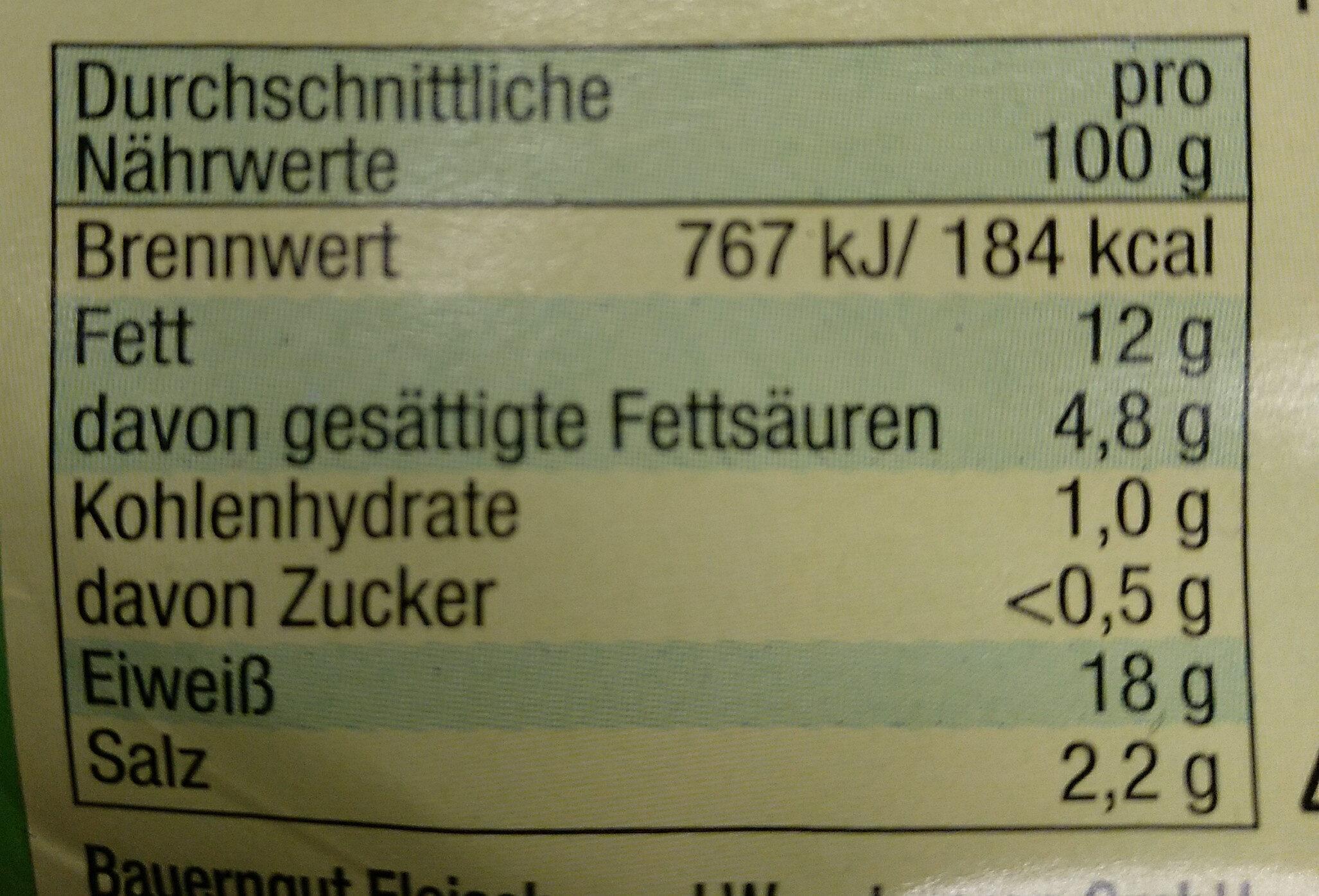 Bauernfrühstück nach Art einer frischen Zwiebelmettwurst - Voedingswaarden - de