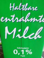 haltbare entrahmte Milch - Produkt