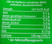 haltbare entrahmte Milch - Nährwertangaben