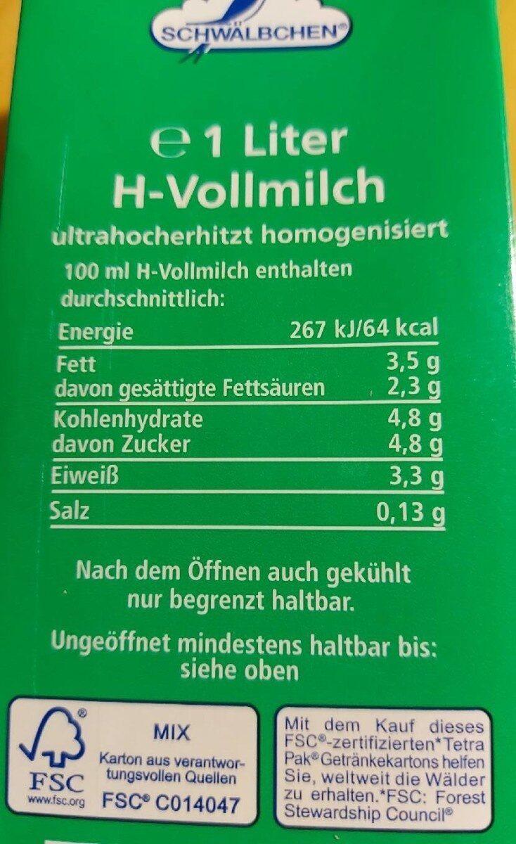 Haltbare Vollmilch 3,5% - Nährwertangaben - de