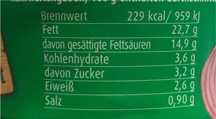 Spundekäs, Winzer Art - Informations nutritionnelles - de