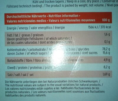 Flakes & fruits - Nutrition facts