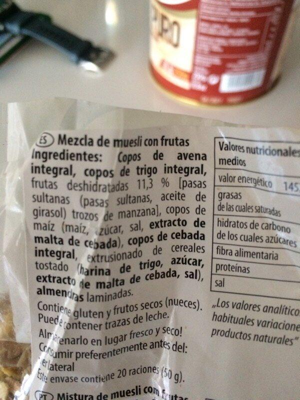 Bircher Muesli - Ingredients - es