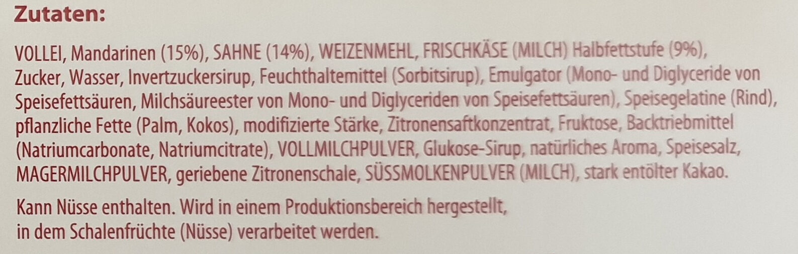 Sahne Rolle Käse-Sahne mit Mandarinen - Ingrediënten - de
