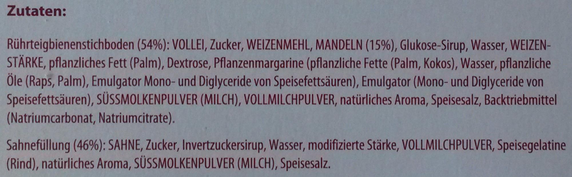 Mandel Bienenstich - tiefgefroren - Ingrédients