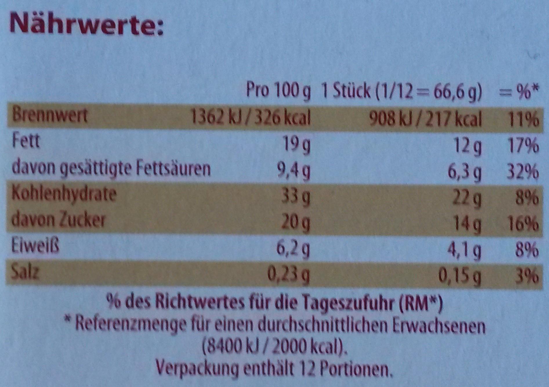 Mandel Bienenstich - tiefgefroren - Informations nutritionnelles