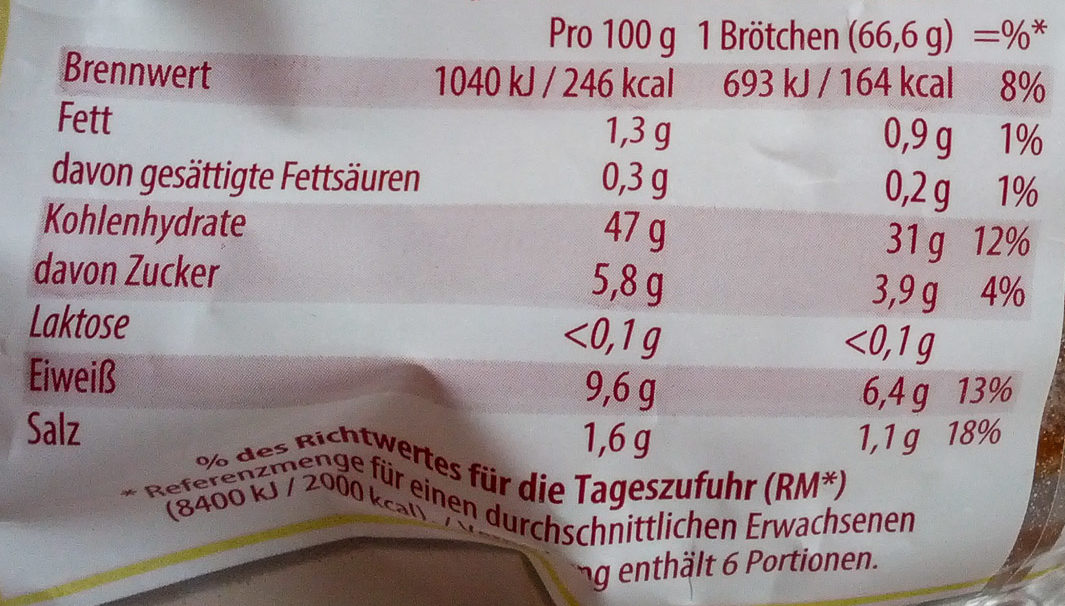 Unsere Goldstücke -  6 Land-Brötchen - Voedingswaarden - de