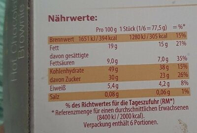 Hot chocolate brownie - Informazioni nutrizionali - de