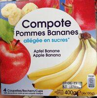 Compote pommes bananes allégée en sucre - Product - fr
