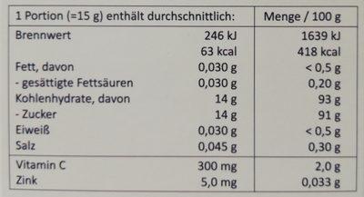 Heißer Holunder - Informations nutritionnelles - de