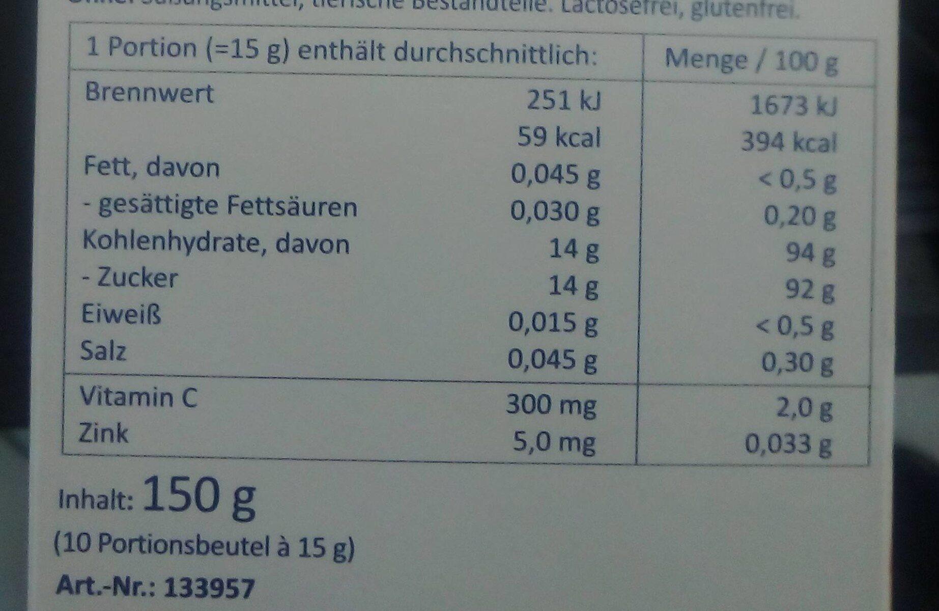 Heißer Granatapfel-Sanddorn - Nutrition facts