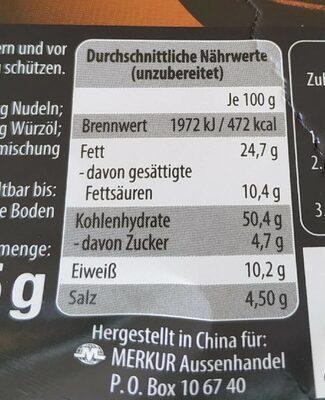 Instant Nudeln, Mit Hühnerfleisch- Und Pilzgeschma. .. - Informations nutritionnelles - fr