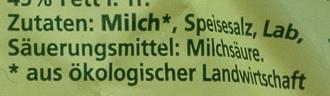 Bio-Mozzarella - Inhaltsstoffe