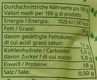 Bio-Mozzarella - Nährwertangaben