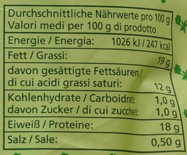 Bio-Mozzarella - Nutrition facts - de